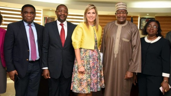 Left to Right: Tony Ojobo, Director Public Affairs Nigerian Communications Commissions (NCC); Sunday Dare, Executive Commissioner Stakeholder Management, NCC; Her Majesty Queen Maxima of The Netherlands and UN Secretary General's Special Advocate on Financial Inclusion for Development; Prof. Umar Danbatta, Executive Vice Chairman, (EVC) of NCC; and Miss Josephine Amuwa, Director Policy, Competition and Economic Analysis NCC, at the NCC Head Office in Abuja this morning when the Queen paid a visit to the Commission.