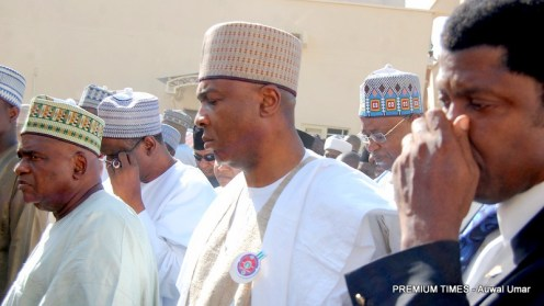 From left is Sen. Muhammad Danjuma Goje and the senate president Dr. Bukola Saraki arrive at the Emir's Palace Gombe for the funeral prayers of late Haj. Fatima Yelwa Goje. DATE: 9th November, 2017