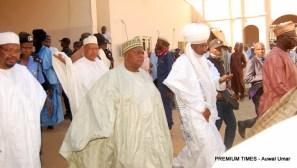 Arrival of Sen. Muhammad Danjuma Goje middle and other important personalities at the funeral prayers of late Hajiya Fatima Yelwa Goje. DATE: 9th November, 2017