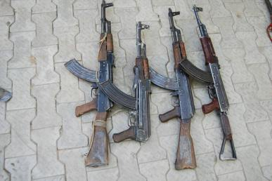 Arrested Boko Haram suspect and weapons recovered by gallant troops of 202 Battalion, 21 Brigade in conjunction with the Mobile Strike Team, MST in Borno state.