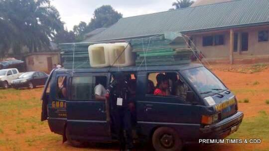 INEC officials arriving at Ogidi ward 1 polling unit