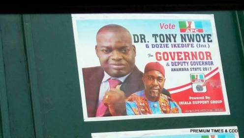 Freshly pasted posters of the APC candidate, Tony Nwoye.