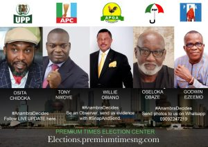 #AnambraDecides2017 poster of candidates and their parties.
