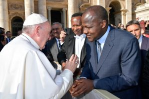 Pope Francis and Speaker House of Rep, Yakubu Dogara.