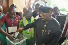 Akwa Ibom Governor, Udom Emmanuel, casting his vote during Saturday's local government election in the state