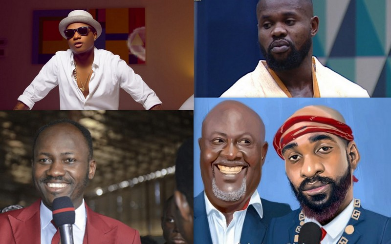 A Collage of Wizkid, Kemen, Apostle Suleman and Dino Melaye's song art with music artist, Kach