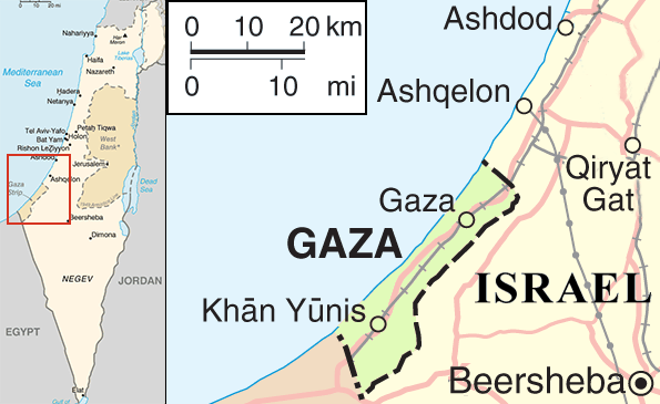Gaza on map used to illustrate the story. [Photo credit: Wikipedia]