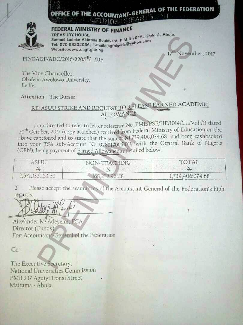 A copy of the letter sent to OAU