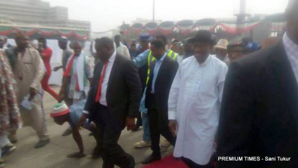 Fromer President, Goodluck Ebele Jonathan arrives at the PDP Convention.
