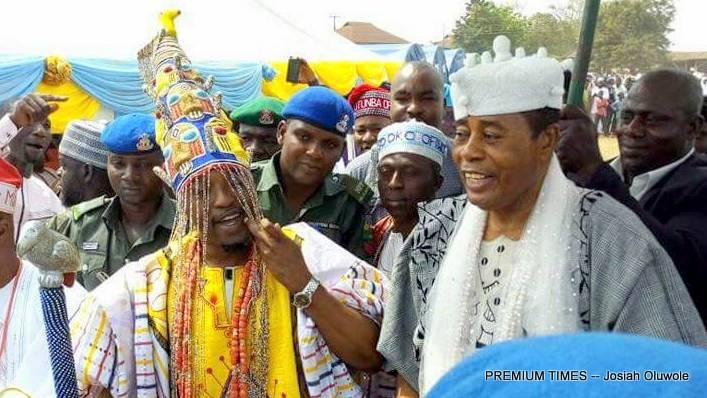 Oluwo of Iwo, Abdulrasheed Akanbi, and the Olugbo of Ugnoland , Obateru Akinrutan, at the Iwo celebration Of the 27th Iwo Day celebration