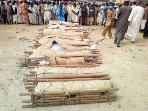 Bodies of the victims of a road accident at a village in Gagarawa Local Government Area of Jigawa State