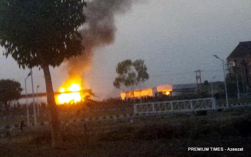 Petrol tanker on fire in Abuja.