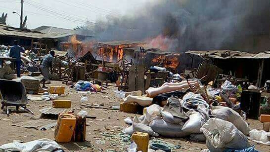 The Bwari market on fire