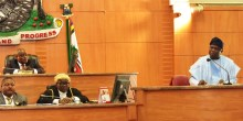 Lagos State Governor, Mr. Akinwunmi Ambode (right), delivering his speech during the presentation of the Y2018 Budget Estimates to the House, at the Assembly Complex, Alausa, Ikeja, on Monday, December 11, 2017. With him are Speaker, Lagos House of Assembly, Rt. Hon. Mudashiru Obasa (left behind) and the Clerk of the House, Mr. Azeez Sanni (2nd left).