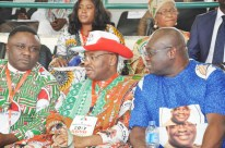 From left: Gov. Ben Ayade of Cross Rivers State; Gov. Emmanuel Udom of Akwa Ibom; and Gov. Okezie Ikpeazu of Abia State during the PDP National Convention in Abuja on Saturday (9/12/17). 06679/9/12/2017/Albert Otu/NAN