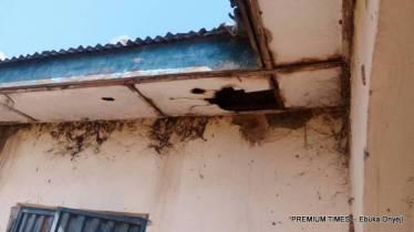 Shattered roofs of a PHC in Maito village, Wushishi LGA where bats dwell.