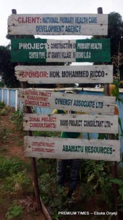 Signpost disclosing contract details of PHC in Gbaye.
