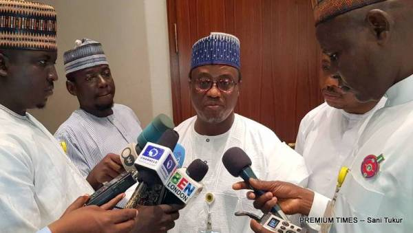 NNPC GMD, Maikanti Baru in a brief interview with State House Correspondents today (Photo taken by Sani Tukur, 29/12/2017)