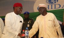 Delta State Governor, Senator Ifeanyi Okowa (left) and Senator Ahmed Makarfi, at the Inauguration of PDP National Convention Organizing Committee, in Abuja. PIX . JIBUNOR SAMUEL