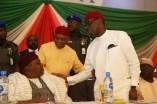 From right; Delta State Governor, Senator Ifeanyi Okowa; Senator Theodore Orji and Arc Darius Ishaku, at the Inauguration of PDP National Convention Organizing Committee, in Abuja. PIX . JIBUNOR SAMUEL
