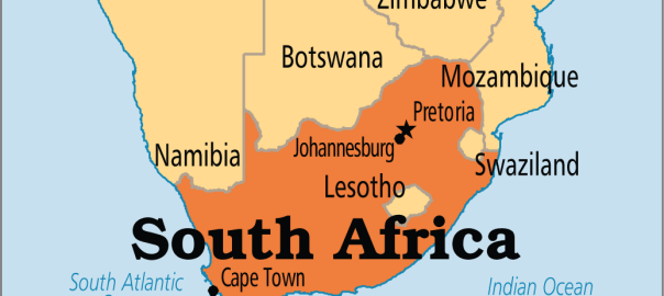 South Africa on map