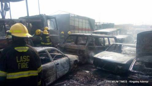 Lagos warehouse engulfed by fire.