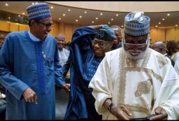 President Muhammadu Buhari, former President Olusegun Obasanjo and former head of state, Abdulsalami Abubakar attending the African Union summit taking place at Addis Ababa, Ethiopia.