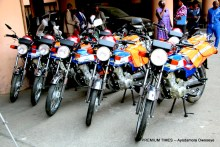 Samples of the motorcycles donated by WHO