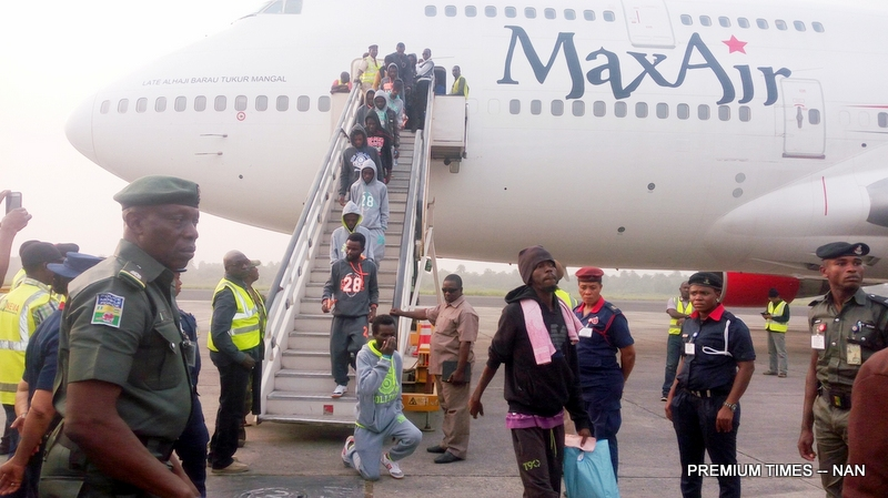 Some evacuated Nigerians living in Libya arriving Port Harcourt International Airport on Sunday (7/1/18).0104/7/1/18/Chidi Ohalete/TA/NAN