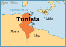 Tunisia on map. [Photo credit: TravelsFinders.Com]
