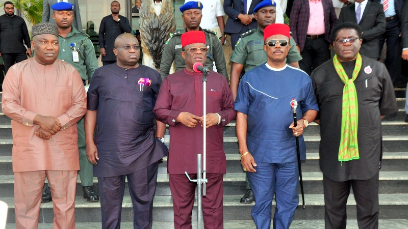 L-R: Governors Ifeanyi Ugwuanyi (Enugu); Okezie Ikpeazu (Abia); David Umahi (Ebonyi); Willie Obiano (Anambra); and the Deputy Governor of Imo State, Prince Eze Madumere during the South East Governors' Forum at the Government House, Enugu, yesterday.
