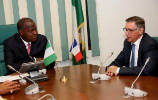 Ambassador of France to Nigeria, Denys Gauer and Speaker house of reps, Yakubu Dogara.