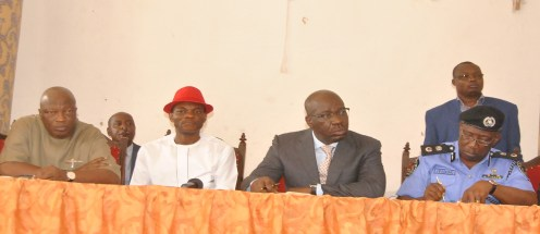L-R: Secretary to the State Government (SSG), Osarodion Ogie Esq.; Speaker, Edo State House of Assembly, Rt. Hon. Kabiru Adjoto; Edo State Governor, Mr. Godwin Obaseki; and the State Commissioner of Police, Mr. Johnson Kokumo, during a stakeholders' meeting with officials of state government, security agencies and leaders of the Hausa/Fulani communities in Edo State, at the Government House in Benin City, Edo State, on Thursday, February 8, 2018.