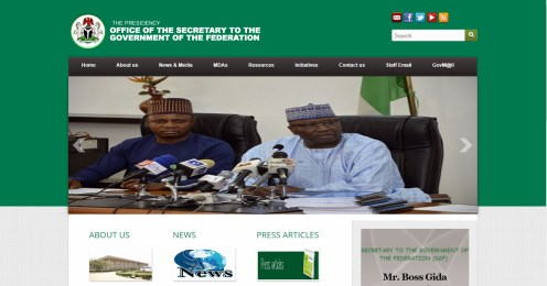 A screen shot from the website. [Photo credit: Www.osgf.gov.ng]
