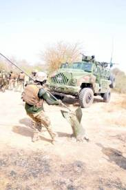 Nigerian troops destroy Boko Haram tactical ground, recover battle tank, others [Photo Credit: Usman SK - Facebook]