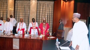 R-L; President Muhammadu Buhari, The Olu of Warri, His Majesty Ogiame Ikenwoli, Chief Ayiri Emami aka the Ajuwaoyiboyami of Warri Kingdom, Chief Brown Mene and delegation during an audience at the State House in Abuja. PHOTO; SUNDAY AGHAEZE. FEB 23RD 2018.