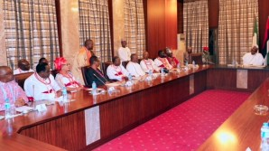R-L; President Muhammadu Buhari, The Olu of Warri, His Majesty Ogiame Ikenwoli and delegation during an audience at the State House in Abuja. PHOTO; SUNDAY AGHAEZE. FEB 23RD 2018.