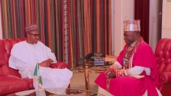 President Muhammadu Buhari receives The Olu of Warri, His Majesty Ogiame Ikenwoli and delegation during an audience at the State House in Abuja. PHOTO; SUNDAY AGHAEZE. FEB 23RD 2018.