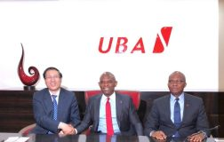 Sitting from Left: Director General, Global Cooperation Department – Americas and Africa, China Development Bank(CDB), Mr Jin Tao and GMD/CEO, UBA Plc, Mr. Kennedy Uzoka signing a $100 million loan facility agreement to fund SMEs in Africa. Standing behind are President of CDB, Mr. Zheng Zhijie and Chairman of UBA Plc, Mr Tony Elumelu, at the UBA House in Lagos on Tuesday