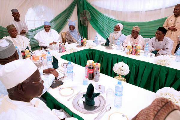 President Buhari with Katsina State Governor H.E. Rt Hon. Aminu Bello Masari, Alh. Isah Katsina and Alh. Abidu R. Yazid shortly after receiving in audience Katsina State Senior Citizen's Forum in his Daura Home on 18th Feb 2018