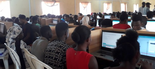 Candidates writing the JAMB exam at a CBT centre