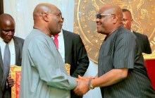 Governor Nyesom Wike shaking hands with Atiku Abubakar