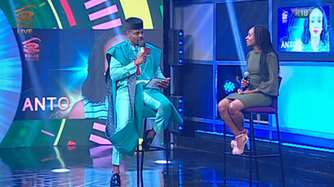 BBNaija host, Ebuka and Anto during the live eviction show on Saturday night