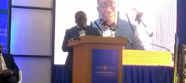 Minister of health, Isaac Adewole giving a remark