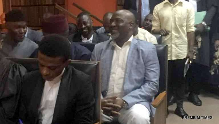 Senator Dino Melaye seated in court room