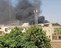 Smoke seen in the capital of Burkina Faso, Ouagadougou after the attack. [Photo credit: Dapo Olorunyomi]