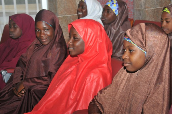 FILE: Some of the released Dapchi School Girls believed to have been adopted by Boko Haram Terrorists during their arrival at the Presidential Villa to meet with President Muhammadu Buhari in Abuja on Friday (23/3/18) 01701/23/3/2018/Callistus Ewelike/NAN