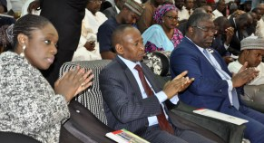 Left to Right: Minister of Finance, Mrs. Kemi Adeosun (left); Accountant General of the Federation, Alhaji Ahmad Idris and Executive Chairman, Federal Inland Revenue Services, Mr. Babatunde Fowler, during an interactive session on Voluntary Assets and Income Declaration Scheme in Kaduna on Thursday, 1st March, 2018 . [Photo credit: Ministry of Finance]