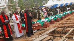 11 Nigerian soldiers killed by gunmen buried. [Photo credit: Mohammed Ibrahim]