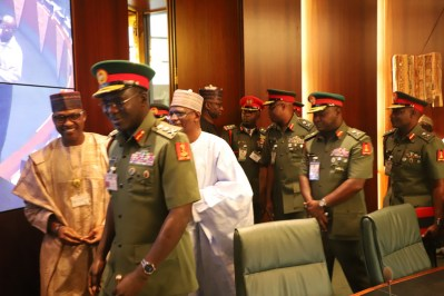 Chief of Army Staff, Lt. Gen. Tukur Buratai leading other Heads of Units to make a presentation during the Federal Executive Council chaired by Vice President Yemi Osinbajo at the Aso Chambers, State House, Abuja. Photo by Abayomi Adeshida 11/04/2018